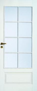 Двери Межкомнатные Дверь белая массивная под 8 стекол № 104