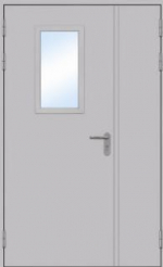 Двери Входные Двустворчатая остекленная с угловым коробом