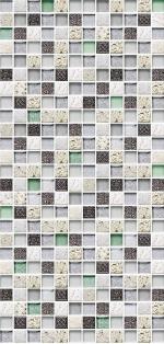 Стеновые панели ПВХ Мозаика Серебро зеленое стекло