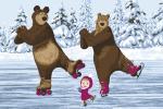 Ковры Нева Тафт Карпет Маша и Медведь Трио на льду