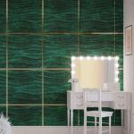 Стеновые панели 3D панели Wave Dark Green