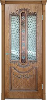 Двери Межкомнатные Дверное полотно Муар орех натуральный-2 остекленное