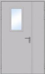 Двери Входные Двустворчатая остекленная с торцевым коробом