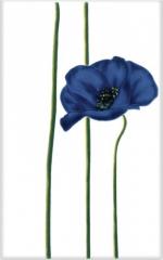 Керамическая плитка М-Квадрат Декор Моноколор Маки Цветок синий 340012