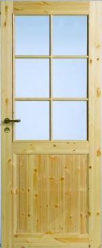 Двери Межкомнатные Филенчатая сосновая дверь под 6 стекол однопольная №52
