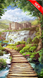 Стеновые панели Листовые Тропа к замку