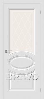 Двери Межкомнатные Скинни-21 П-23 (Белый) остекленное