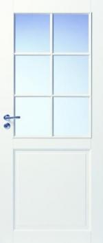 Двери Межкомнатные Дверь белая массивная под 6 стекол №102