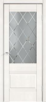 Двери Межкомнатные Alto 2V Эмалит белый стекло ромб светлый