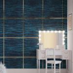 Стеновые панели 3D панели Wave Dark Blue