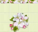 Стеновые панели ПВХ Яблоневый цвет зеленый