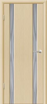 Двери Межкомнатные Гранд-М  вариант 7 с прозрачным белым триплексом Выбеленный дуб