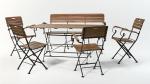 Мебель Садовая мебель Стол прямоугольный 150*80 см + скамья + 4 стула с подлокотниками HolzHof