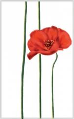 Керамическая плитка М-Квадрат Декор Моноколор Маки Цветок красный 340043
