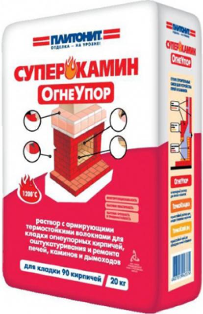 Изображение Строительные товары Строительные смеси ПЛИТОНИТ СуперКамин Огнеупор (20 кг)