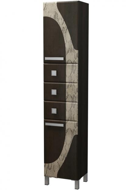 Изображение Мебель Мебель для ванной Шкаф-пенал Серпентес 40 SB3 венге темный/питон
